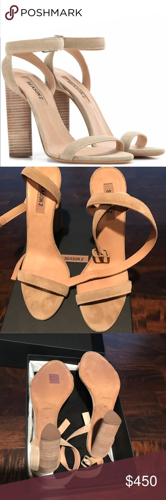 Brand New Yeezy Season 2 Suede Heels Authentic Yeezy Season 2 sandals! Suede upper with leather sole. Wrap around ankle with buckle closure. 4in block heel. Size 41 (fits like a 10) Brand new never worn before. Largest size which is the hardest to find, sold out everywhere! Super exclusive shoe. NO TRADES accepting best offer these will go fast! Comes with original box and dust bag! Yeezy Shoes Heels