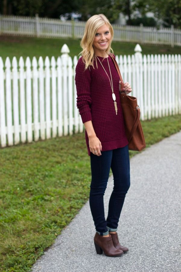 Perfect Fall Outfit - Sweater, Skinnies & Booties