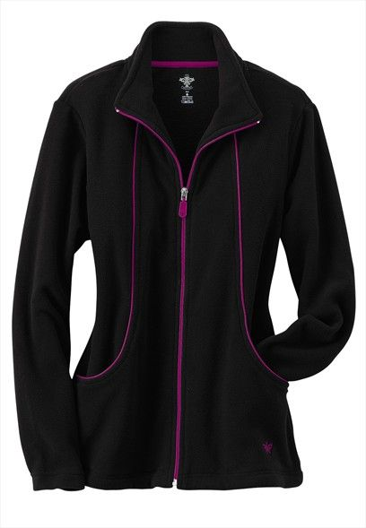 Medcouture by Peaches fleece zip front scrub jacket. Navy/apple