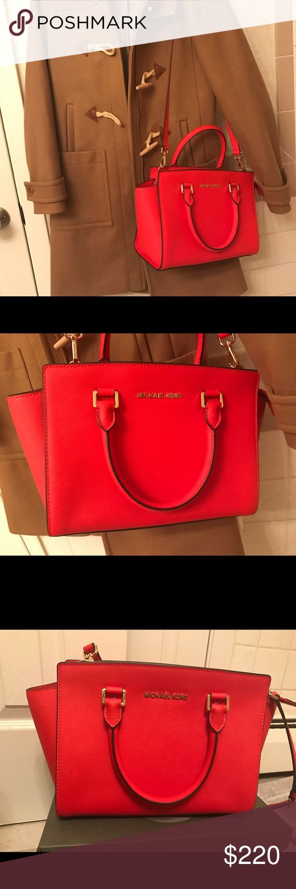 Michael kors Selma handbag medium Like new. Bought it in Nordstrom one year ago. Used twice maybe. I'm a very petite person...The bag is too large for me... ...the color is more like orange red. Very bright. it's  $298 in Nordstrom now. Michael Kors Bags Shoulder Bags