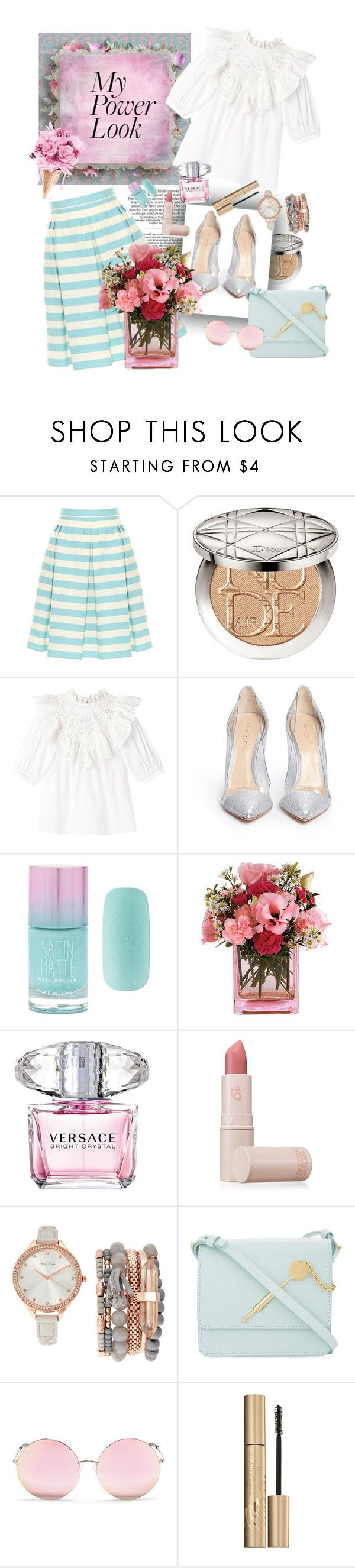 """Untitled #198"" by etotnikzanyat on Polyvore featuring RED Valentino, Christian Dior, Gianvito Rossi, Forever 21, Versace, Lipstick Queen, Jessica Carlyle, Sophie Hulme, Matthew Williamson and Stila"