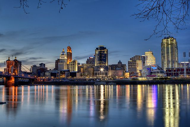 I think you can make any waterfront city beautiful at night... First trip to N. Kentucky/Cincinnati this week.