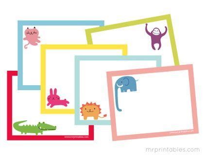 Colorful animal blank notecards (free printable) by Mr. Printables.