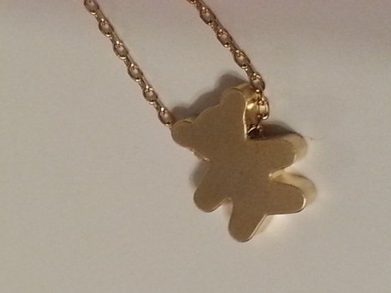 Gold Teddy Bear Necklace by KDugasCrafts on Etsy