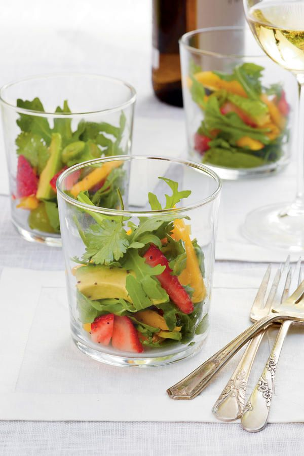 Summer Fruit Salad - The Easy, Breezy, Summer Party - Southernliving. Recipe:Summer Fruit Salad  Serve Summer Fruit Salad in short cocktail glasses to show off fresh mango, cilantro, and avocado.