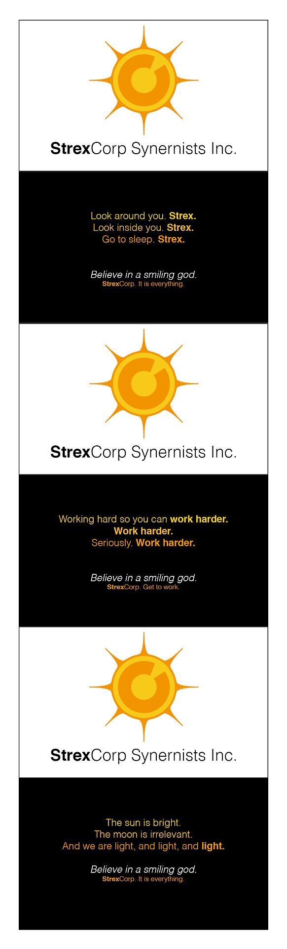 the strexcorp business cards i made for dragon*con.