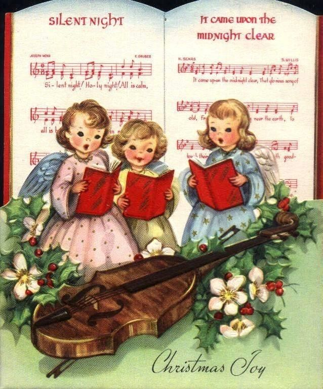 """Lovely vintage """"Christmas Joy"""" card with a hymnal and violin for the choir of angels."""