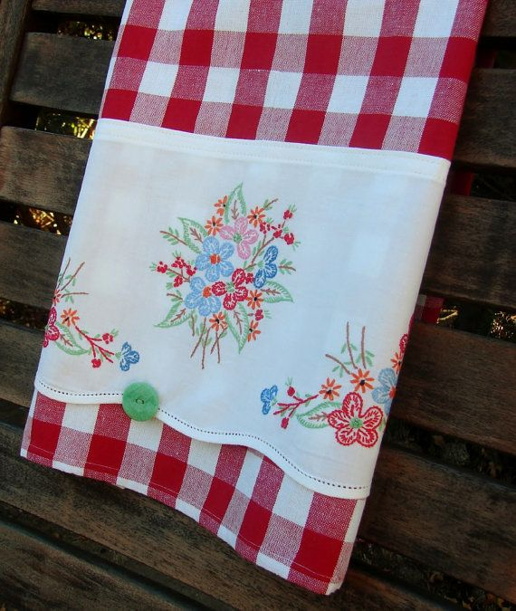 Recycled Linen Vintage Pillow Case Button Floral Nosegay Bouquet Patriotic Red Check to Up Cycled Dish Tea Towel Home Decor Bright Cheerful