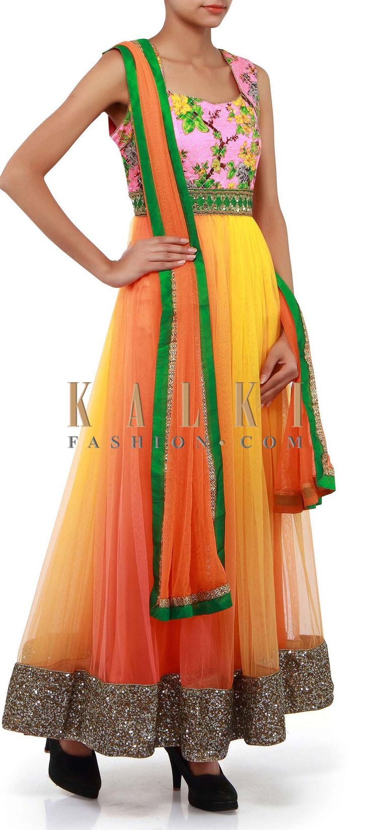 Buy Online from the link below. We ship worldwide (Free Shipping over US$100). Product SKU - 263957. Product Link - http://www.kalkifashion.com/orange-and-yellow-shaded-anarkali-suit-only-on-kalki.html