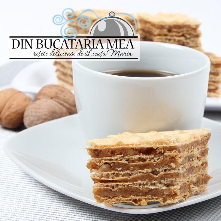 Prajitura cu foi de napolitana si nuca / Вафельный торт с ореховой начинкой