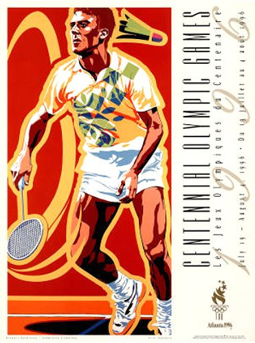 Atlanta 1996 Olympics BADMINTON Official Event Poster by Hiro Yamagata - Available at www.sportsposterwarehouse.com