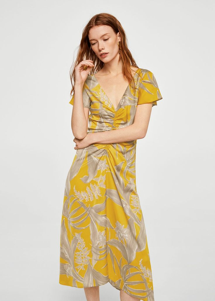 Draped floral dress -  Women   MANGO USA