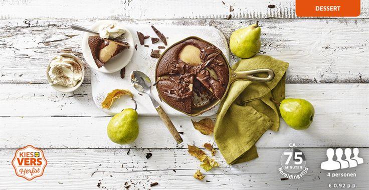 Kies het lekkerste seizoen met dit chocolade stoofperentaartje