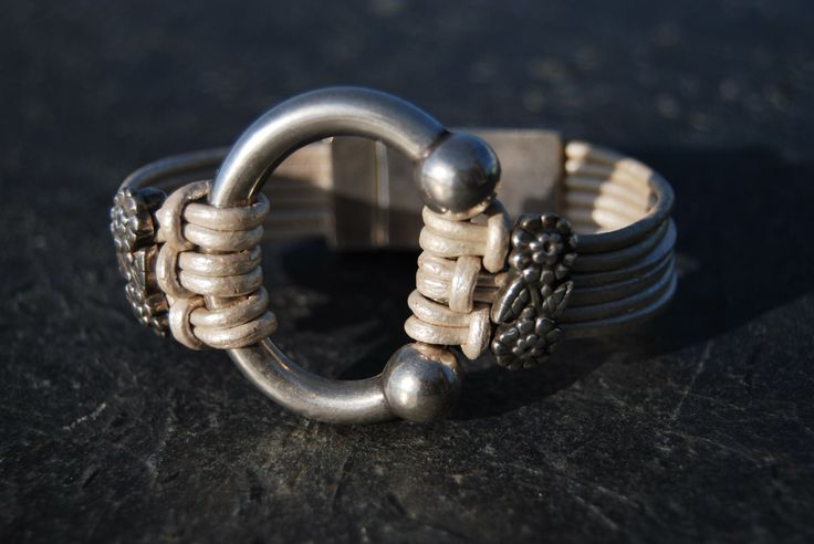 Beige leather and silver bracelet by NorthernlightsNO on Etsy