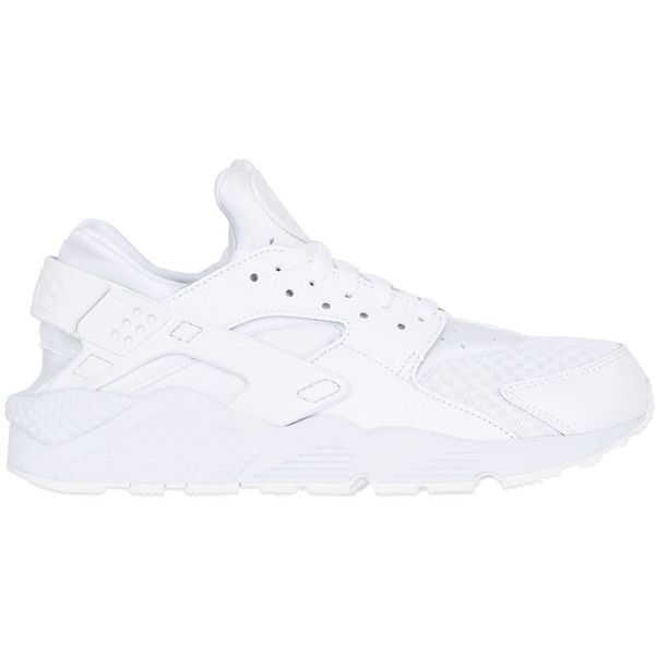 Nike Men Air Huarache Run Sneakers ($150) ❤ liked on Polyvore featuring men's fashion, men's shoes, men's sneakers, huaraches, men, white, mens mesh shoes, mens mesh sneakers, mens white shoes and mens sneakers
