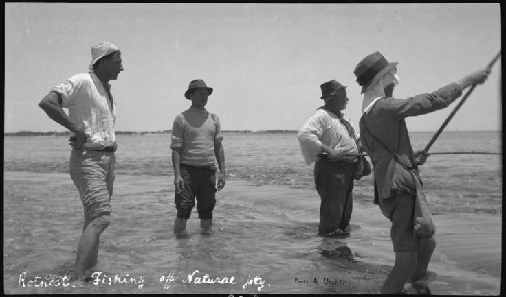 111495PD: Fishing off Natural Jetty Rottnest, with Charlie, 1920s.  http://encore.slwa.wa.gov.au/iii/encore/record/C__Rb2193045__SFishing%20off%20Natural%20Jetty%2C%20Rottnest__Orightresult__U__X6?lang=eng&suite=def