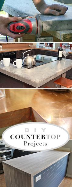 DIY Countertop Projects • A round-up of the best do it yourself countertop projects that we could find. • Lots of tutorials!