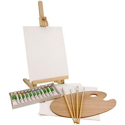 US Art Supply 21-Piece Wood Studio Table Easel & Paint Box Set with 12 Paint Colors, Canvas Panels, Brushes, Wood Palette (Acrylic Paint Kit)