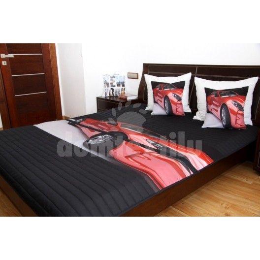 Prehoz na detskú posteľ čiernej farby s červeným autom