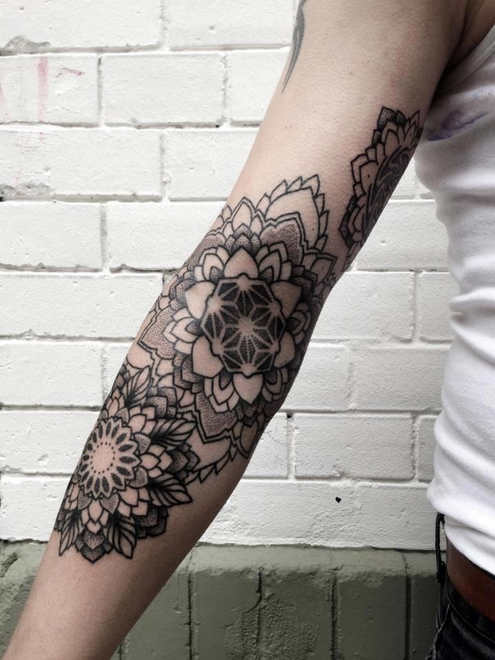 mandala flowers by philippe hernandez arm tattoos. Black Bedroom Furniture Sets. Home Design Ideas