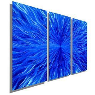 Winter wall decor is not only an amazing way to spruce up your home this winter but also easy and affordable.   In fact whether you like winter metal art, winter canvas wall art, or winter wall clocks you will find something to help deck the walls of your home. Blue Contemporary Metal Wall Art Sculpture - Three Panel Abstract Wall Decor by Jon Allen - Blue Vortex - 38