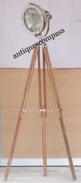 Aluminium Studio Theater Search Light W Wooden Stand Photography Spot Floor Lamp