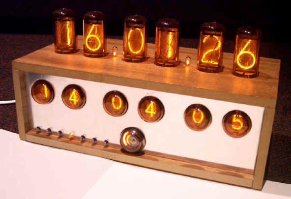 Nixie clock uses vacuum tube technology.