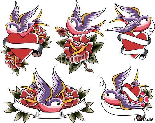 """Téléchargez le fichier vectoriel libre de droits """"swallow tattoo banner"""" créé par creative_stock au meilleur prix sur Fotolia.com. Parcourez notre banque d'images en ligne et trouvez l'illustration parfaite pour vos projets marketing !"""