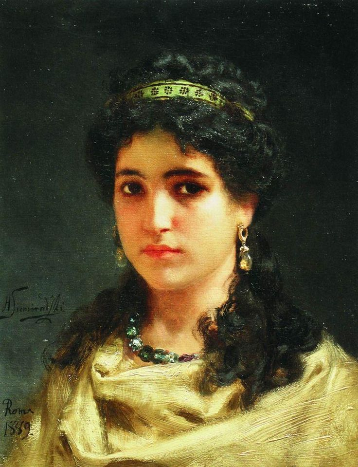 Portrait of a Young Roman Woman, 1889 by Henryk Siemiradzki (Polish 1843-1902)....Ancient Rome, that is...