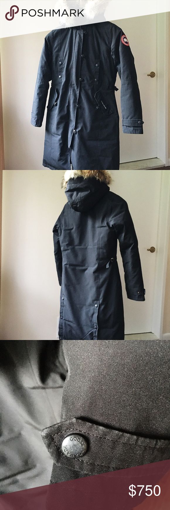 Canada Goose Kensington down jacket in black Authentic. Bought it from Saks. Has sign of wear on sleeves and pockets. Looks great and warm. Real fur on hood and it's removable. From pet free smoke free home. No trade please. Canada Goose Jackets & Coats Puffers
