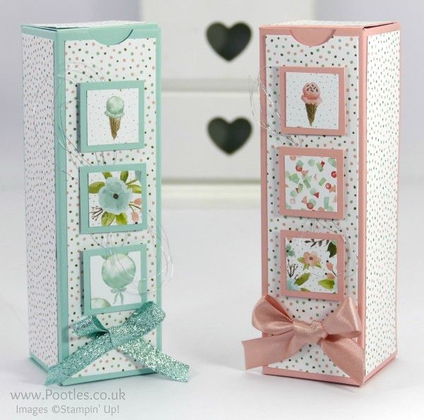 Stampin' Up! Demonstrator Pootles - Tall Inchie Decorated Box with Birthday Bouquet DSP