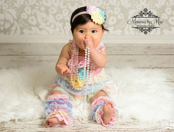 3pcs Easter outfit, Shades of Pastel Lace Petti Romper set, Romper and legwarmers set, newborn outfit, Birthday outfit, baby outfit