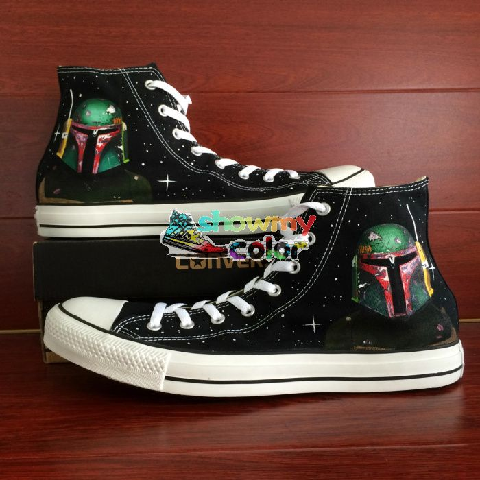 sale Star Wars Converse High Top Shoes Hand Painted Boba Fett ...