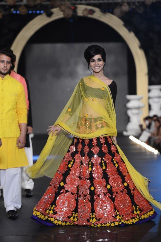 Red and yellow lengha by Ali Xeeshan at PFDC Bridal Week 2013