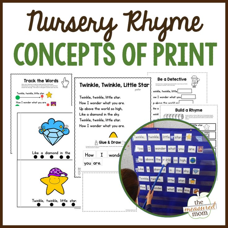 It's SO important to teach nursery rhymes to preschoolers. These concepts of print activities feature ten different nursery rhymes!