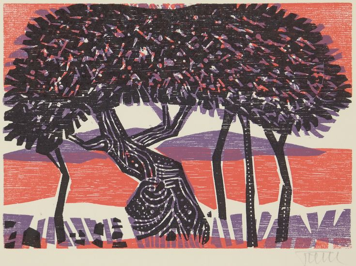 Alfred Pohl Fig Tree Landscape Woodcut Color German