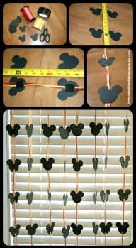 Easy DYI Disney Garland - Decorations for home or hotel room. (use disney paint chip samples from home depot)