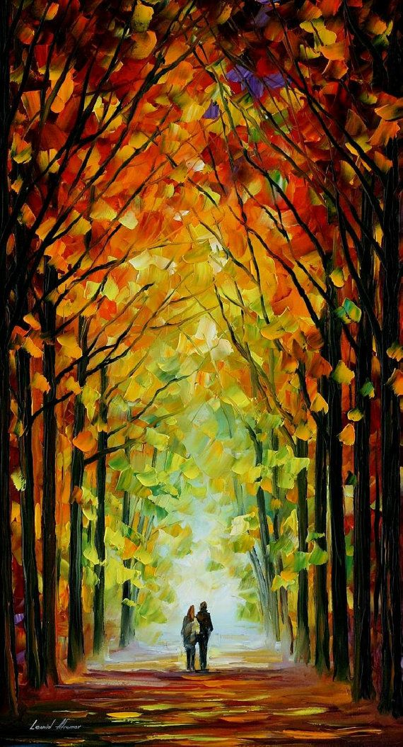 "Altar Of Trees — PALETTE KNIFE Modern Impressionism Art Landscape Oil Painting On Canvas By Leonid Afremov - Size: 20"" x 36"" (50 cm x 90 cm)"