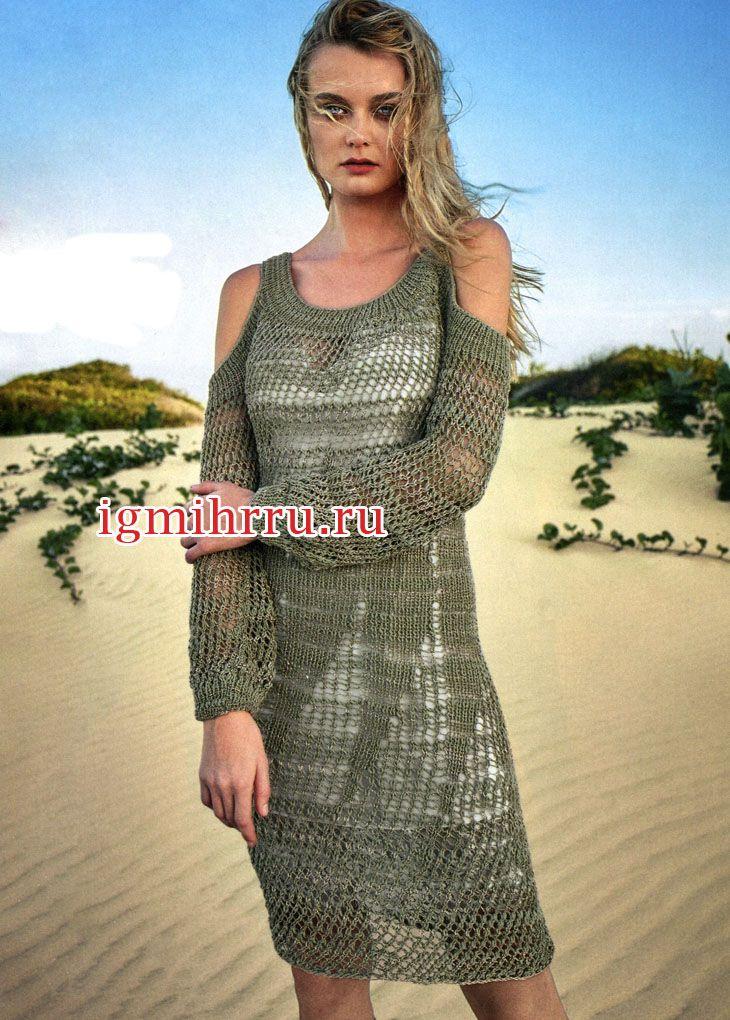 Летнее серо-оливковое платье с узором «сетка». Вязание спицами