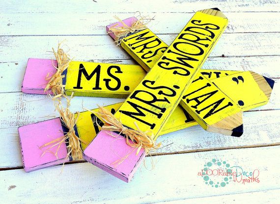 Personalized Teacher Name Plate Wooden by aDOORableDecoWreaths