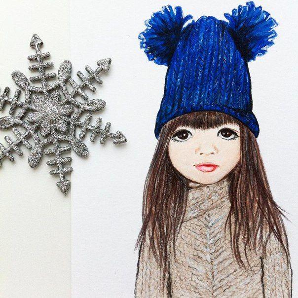 Зимняя бэйбочка в синей гномской шапке))) #арт #портрет #бэйба #девочка #рисунок #art #baby #children #girl #prismacolor #drawing #winter #бэйбаколлекция
