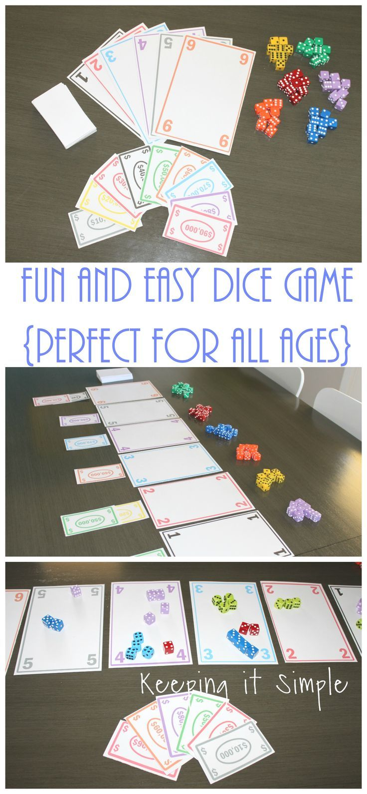 fun and easy dice game with printable  games for kids