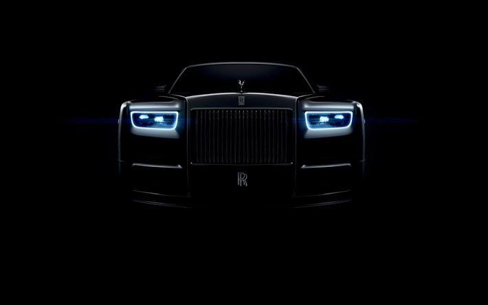 Descargar fondos de pantalla la oscuridad, el Rolls-Royce Phantom, 2018 carros, faros, Rolls-Royce
