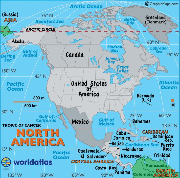 Map of North America. Great site to learn from... world atlas.com  Love this site!