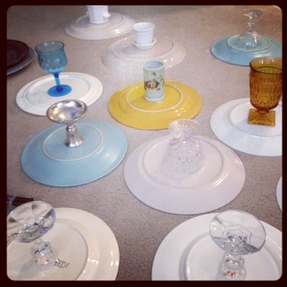 DIY Wedding Projects: Pie Stands-- with green glasses from thrift store?