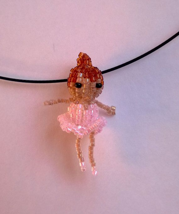 Pink Ballerina Girl Seed Bead Doll Beaded Bead Pendant Necklace