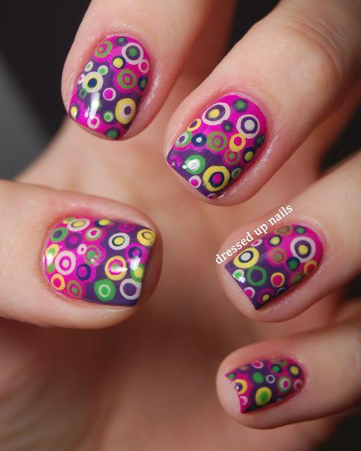 #Nails. Dressed Up Nails - colorful layered dots nail art