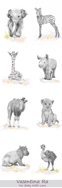 Neutral Nursery Set of 8 Prints Baby Animals Watercolor painting Girl Nursery…