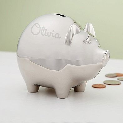 17 best images about personalized gifts on pinterest awesome chairs little ones and growth charts - Engraved silver piggy bank ...