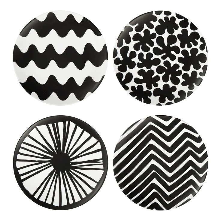 Salad Plates 4 Count - Black